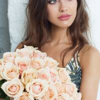 Букет 25 кремовых роз с лентами R553