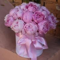 Коробка 21 розовый пион с оформлением R7749