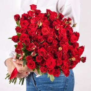 Букет 31 красных кустовых роз с лентами R484